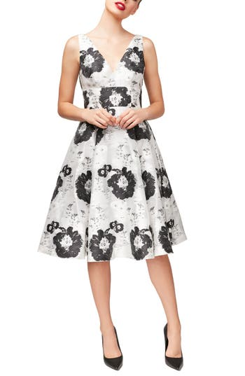 Betsey Johnson Floral Fit & Flare Dress, White