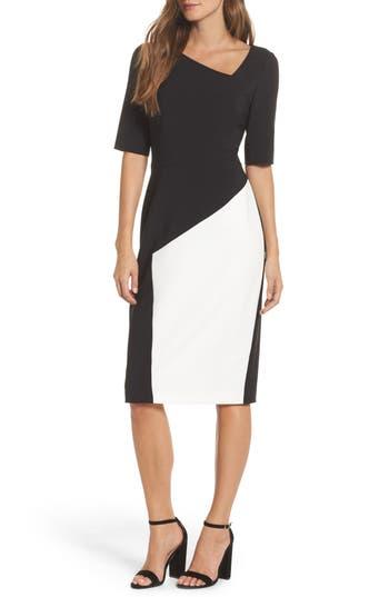 Maggy London Asymmetrical Sheath Dress, Black
