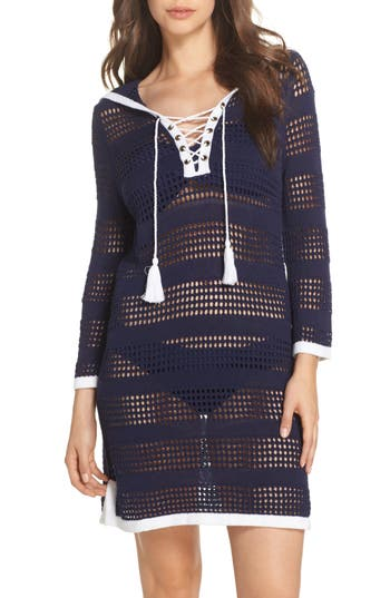 Tommy Bahama Open Stitch Hooded Cover-Up Sweater Dress, Blue