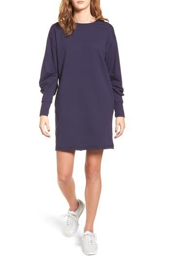 Socialite Gathered Sleeve Sweatshirt Dress, Blue
