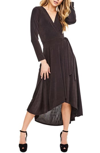 Astr The Label Melonie Wrap Dress, Grey