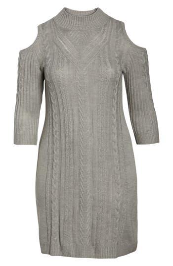 Plus Size Eliza J Cold Shoulder Cable Sweater Dress, Grey