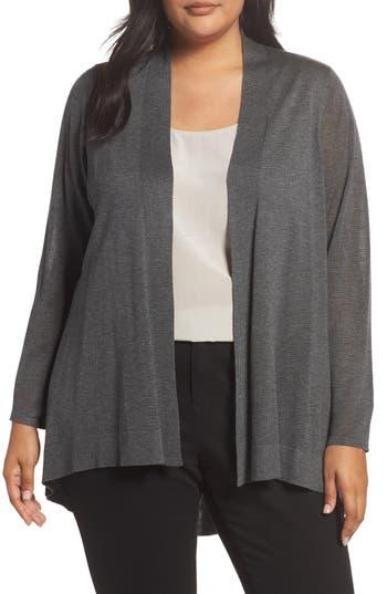 Plus Size Eileen Fisher Shaped Tencel & Merino Wool Cardigan, Grey