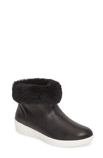 Fitflop Skatebootie(TM) With Genuine Shearling Cuff, Black