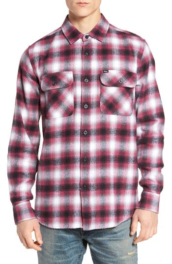 Obey Mission Plaid Flannel Sport Shirt, Burgundy