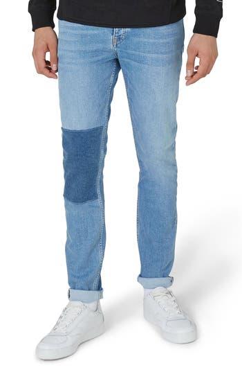 Topman Patch Stretch Skinny Jeans, Blue