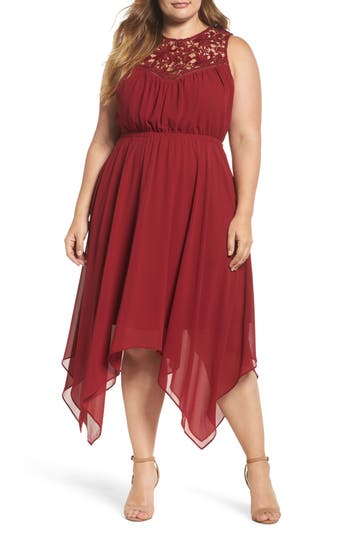 Plus Size Women's Soprano Handkerchief Hem Dress, Size 1X - Burgundy