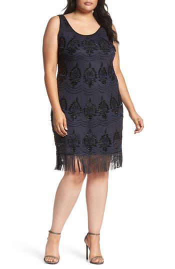 Plus Size Women's Pisarro Nights Embellished Fringe Hem Cocktail Dress, Size 14W - Blue