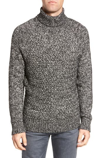 French Connection Marled Cable Knit Turtleneck Sweater, Black