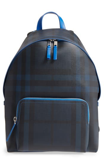 Burberry Check Faux Leather Backpack - Blue