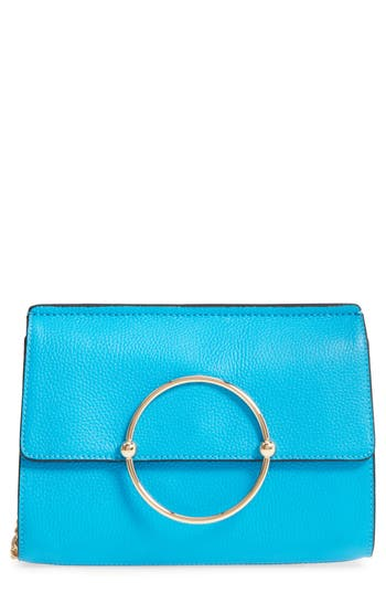 Milly Astor Pebbled Leather Flap Clutch - Blue at NORDSTROM.com