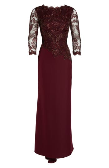 Tadashi Shoji Embroidered Woven Gown, Red