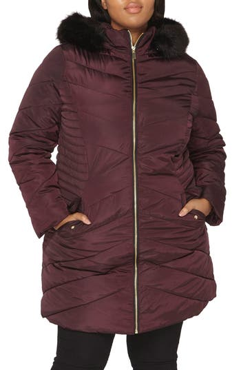 Plus Size Dorothy Perkins Faux Fur Trim Hooded Puffer Coat, US / 26 UK - Red