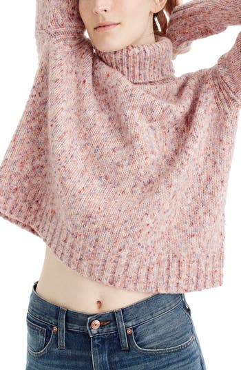 J.crew Marled Wool Blend Turtleneck Sweater, Pink