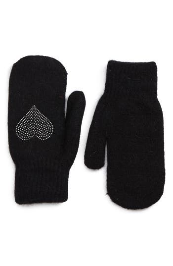 David & Young Sequin Heart Mittens, Size One Size - Black
