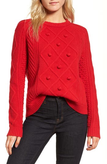 Women's J.crew Merino Wool Cable Pompom Sweater, Size X-Small - Red