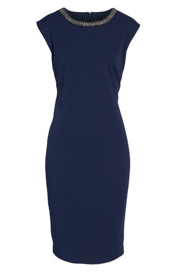 Chetta B Embellished Sheath Dress, Blue