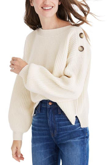 Women's Madewell Boatneck Bubble Sleeve Sweater, Size XX-Small - White