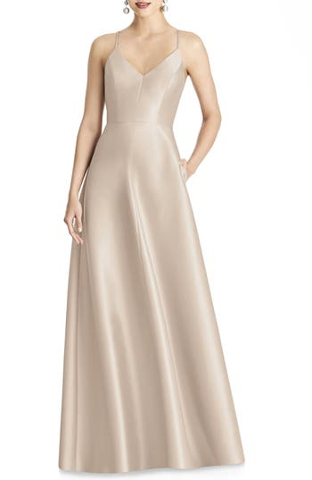 Alfred Sung Strappy Sateen A-Line Gown, Beige