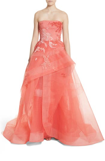 Monique Lhuillier Embroidered Strapless Ballgown, Coral