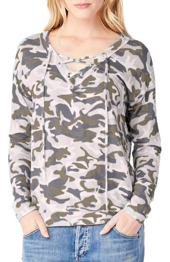 Michael Stars Lace-Up Camo Print Top, Green