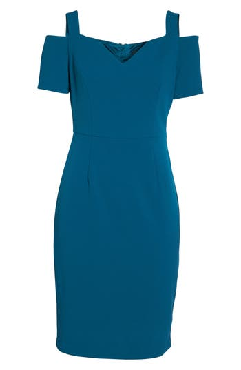 Adrianna Papell Cold Shoulder Crepe Dress, Blue