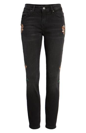 Women's Mavi Jeans Adriana Embroidered Skinny Jeans, Size 25 - Black