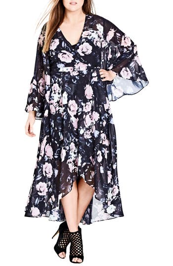 Plus Size Women's City Chic Rose Wrap Maxi Dress, Size X-Small - Black