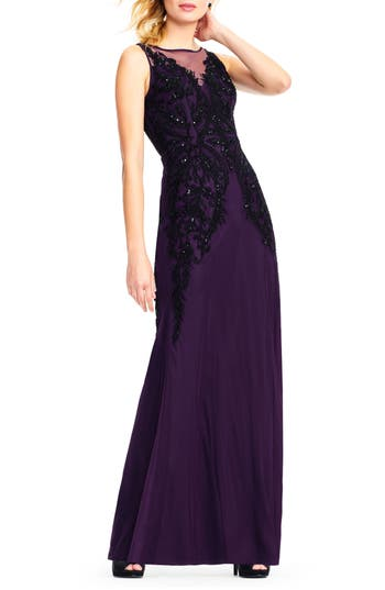 Adrianna Papell Beaded Illusion Sheath Gown, Purple