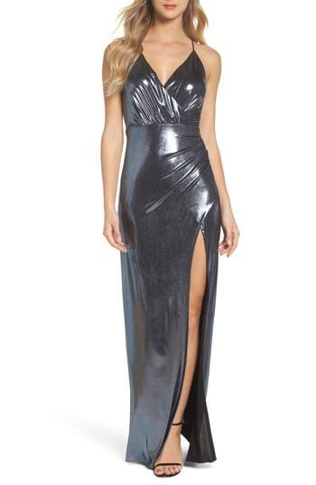 Maria Bianca Nero Metallic Jersey Plunging V-Neck Gown, Grey