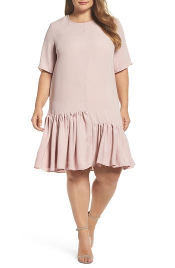 Plus Size Women's Glamorous Asymmetrical Ruffle Shift Dress, Size 14W - Pink