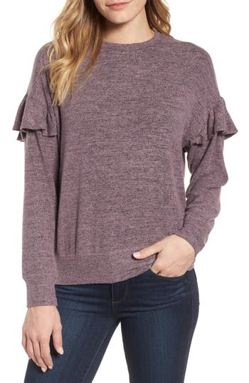 Women's Bobeau Ruffle Sleeve Sweatshirt, Size Small - Purple