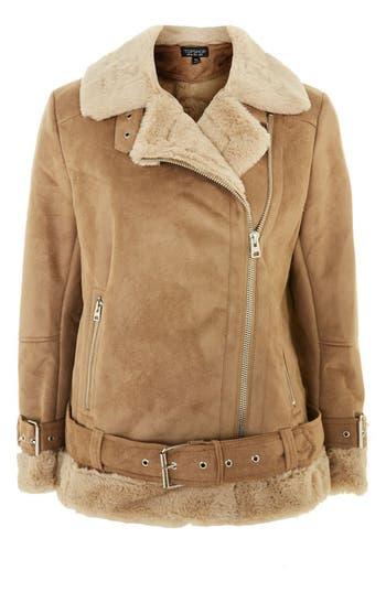 Women's Topshop Faux Shearling Biker Jacket, Size 2 US (fits like 0) - Beige