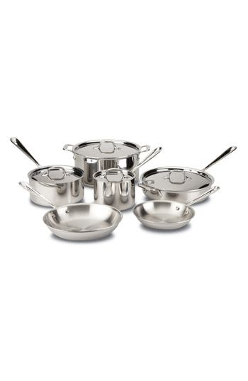 All-Clad 10-Piece Brushed Stainless Steel Cookware Set, Size One Size - Metallic