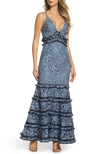 Keepsake The Label Catch Me Ruffle Lace Trumpet Gown