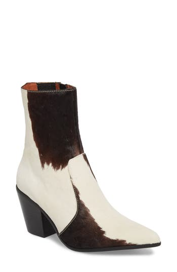 Jeffrey Campbell Ace-F Genuine Calf Hair Bootie, White