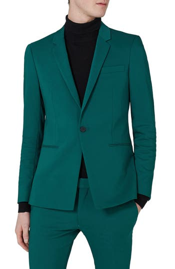 Men's Topman Ultra Skinny Fit Suit Jacket, Size 38 32 - Blue/green
