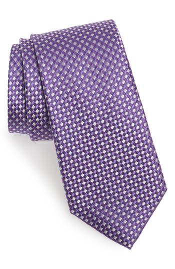 Men's Nordstrom Men's Shop Check Silk Tie, Size Regular - Purple