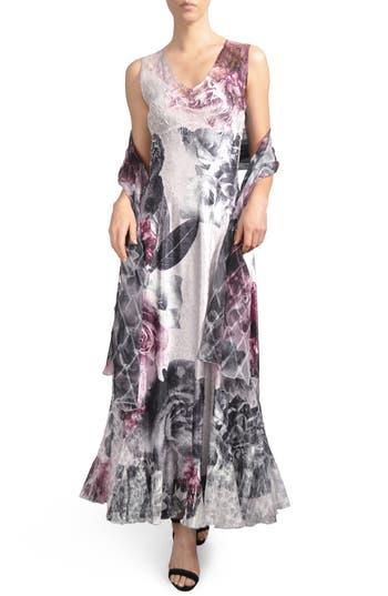 Komorav Lace-Up Back Maxi Dress With Shawl, Purple