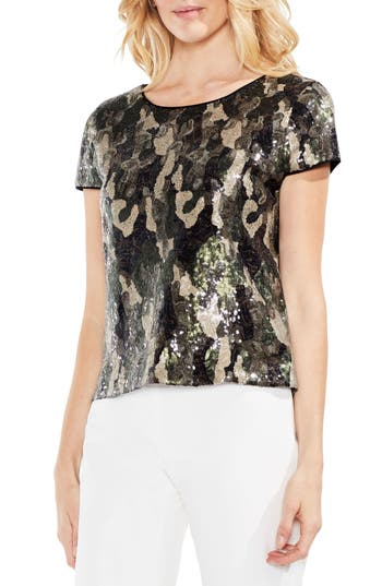 Women's Vince Camuto Camo Sequin Top, Size X-Small - Green
