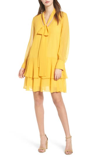 Women's Chelsea28 Tie Front Shirtdress, Size XX-Small - Yellow