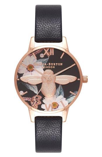 Women's Olivia Burton Bejewelled Florals Leather Strap Watch, 30Mm