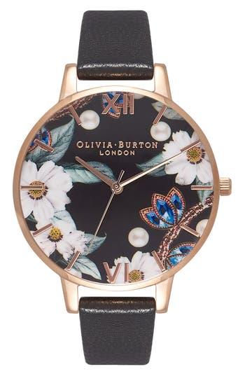 Women's Olivia Burton Bejeweled Florals Leather Strap Watch, 38Mm