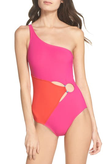 Diane Von Furstenberg O-Ring One-Piece Swimsuit, Pink