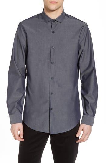 Calibrate Slim Fit Solid Sport Shirt, Blue