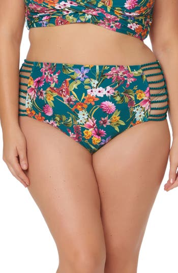 Plus Size Jessica Simpson Floral Print Bikini Bottoms, Green