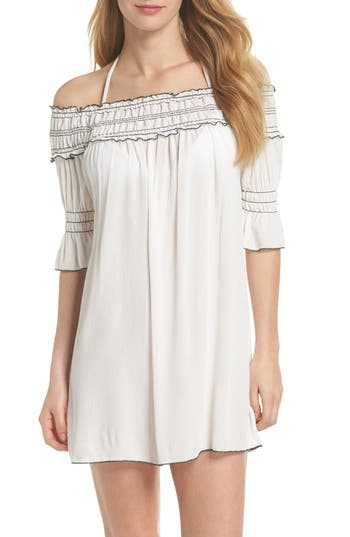 Becca Nightingale Off The Shoulder Cover-Up Dress, White
