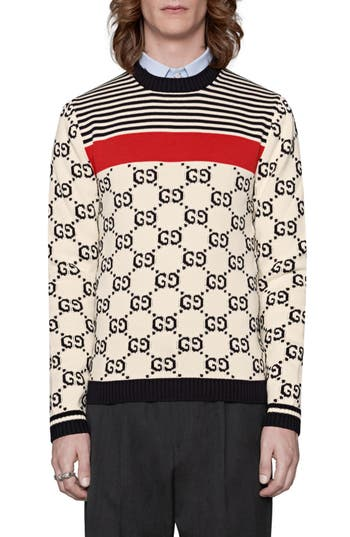 Men's Gucci Gg Pattern Crewneck Sweater, Size Large - None