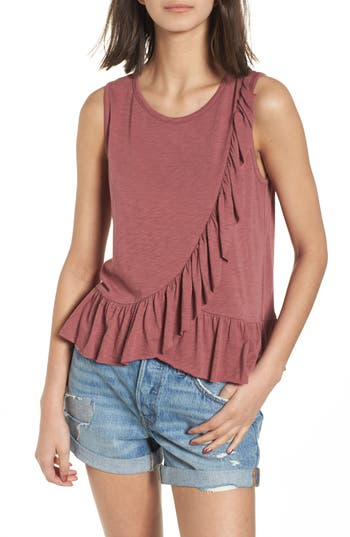 Women's Soprano Asymmetrical Ruffle Tank Top, Size X-Small - Red