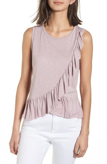 Women's Soprano Asymmetrical Ruffle Tank Top, Size X-Small - Purple